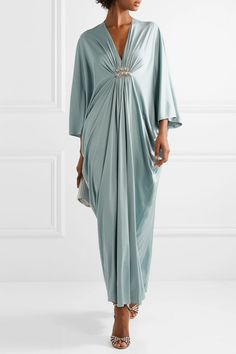 Mint silk-jersey Slips on silk Dry clean Designer color: Ice Blue Abaya Fashion, Fashion Outfits, Womens Fashion, Kaftan Designs, Party Kleidung, Mode Abaya, Classy Outfits, Jimmy Choo, Designer Dresses