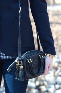 Plaid & Pearls: Navy and Gingham // Preppy Fall Fashion