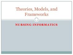 Nursing informatics theories, models, and frameworks