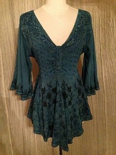 Teal Embroider Festival Renaissance Top Butterfly Angel Sleeves Gypsy Hippie M | eBay