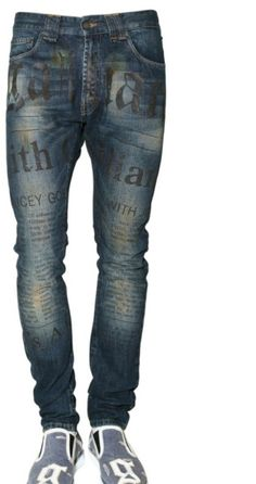 "JOHN GALLIANO* ""Gazzette"" Print Dirty Den Jeans"