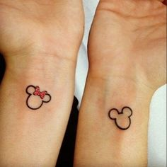 Cute, small and subtle Disney Tattoos, Ideas and Quotes for couples and sisters. These Walt Disney Tattoos are unique and great for inspiration. Walt Disney Tattoos, Disney Tattoos For Men, Disney Couple Tattoos, Cute Couple Tattoos, Tattoos For Guys, Tattoo Disney, Disney Tattoos Matching, Small Tattoos For Couples, Disney Couples