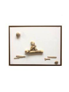 """Kunst Bild, """"Ruderausflug"""", art image picture, craft """"Rowers trip"""", pebbles art, craft, Kunst, image, bild"""