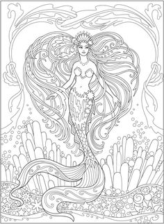 Mermaid Adult Coloring Pages . Discover our large assortment of Coloring pages, with many trouble and groups levels. The perfect Anti-stress activity for you. Printable Adult Coloring Pages, Cute Coloring Pages, Coloring For Kids, Coloring Sheets, Coloring Books, Dover Coloring Pages, Adult Coloring Book Pages, Mermaid Coloring Book, Fairy Coloring