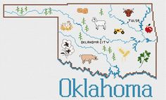 Sue Hillis Oklahoma Map - Cross Stitch Pattern. Model to be stitched on your choice of fabric using DMC floss. Stitch count 148 x 91.