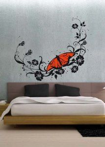 uBer Decals Vinyl Wall Decal Sticker Floral Butterfly