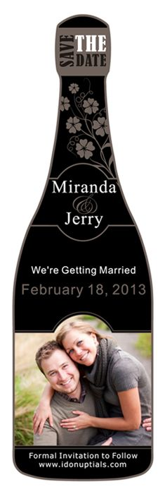 cute Save-the-Date magnets in the shape of a champagne bottle (Pull together the NYE & Vineyard/Winery theme!)