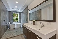 Modern Full Bathroom with European Cabinets, Ultra Single-Hole Bathroom Faucet, Undermount sink, Handheld showerhead, Flush