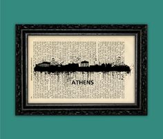 Athens Greece World Cities Skylines Art Print - Building Europe Silhouettes Book Art Poster Dorm Room gift Wall Dictionary Print