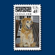 Golden Retriever US Postage Stamps by Paintingsbygretzky