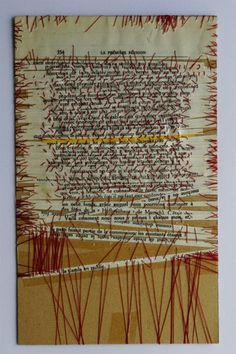 Linda Ellia altered page: Exorcisme artistique de Mein Kampf… Collages, Collage Art, Stitching On Paper, Paper Weaving, Book Sculpture, Textiles, Paper Embroidery, Handmade Books, Textile Artists