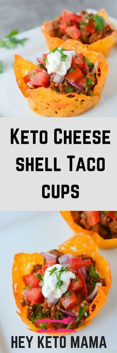 These Keto Cheese Shell Taco Cups are the easiest way to get your taco on...low carb style!   heyketomama.com