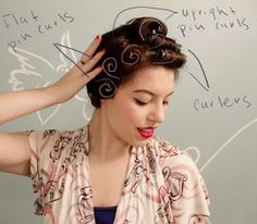 Pin Curls for thick, wavy hair that tends to frizz and holds curl well. That would be my hair.