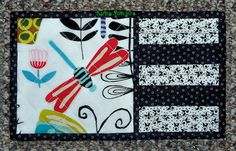 black and white mug rug front by Stray Stitches, via Flickr