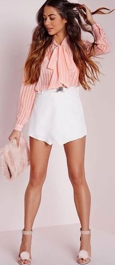 #spring #fashion | Blush Stripe Pussybow Blouse + Gold Buckle Detail White Skort |#Missguided