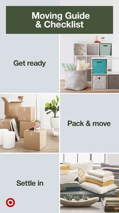 Create a moving checklist with storage must-haves, packing tips & hacks to make moving into your new home easy & organized.
