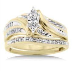 13 carat diamond tw bridal set in 10kt yellow gold - Walmart Wedding Ring Sets