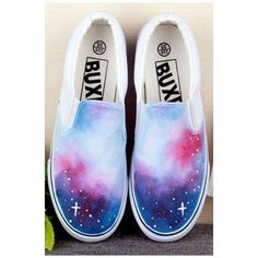 Hand-Painted Mysterious Galaxy Canvas Round Toe Sneakers For Women ($31) ❤ liked on Polyvore featuring shoes, sneakers, planet shoes, canvas shoes, canvas footwear, galaxy shoes and round cap