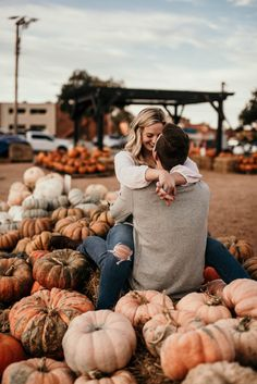 Fall engagement session at pumpkin patch