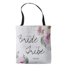 #bridesmaid - #Rustic Vintage Floral Wood Bridesmaid Bride Tribe Tote Bag