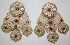 India | Earrings; silver, pearls and stones | early 19th century