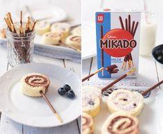 Biskuitrolle mini mit Schoko Heidelbeere Mikado