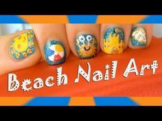 ☼Spring and Summer Beach Nail Art Designs- Cute Sun, Beach Ball, Crab, S...