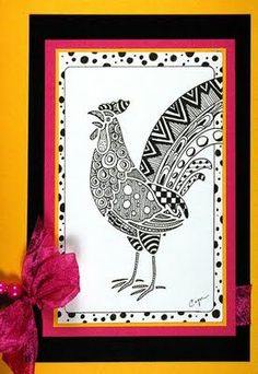Rooster LG732 using Zentangle