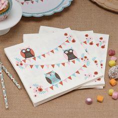 Set van 20 servetten met 3 leuke uiltjes die de hoofdrol spelen in deze collectie. Maak je feestje helemaal compleet met de bijhorende bekertjes en bordjes van de (W)Oehoe collectie!