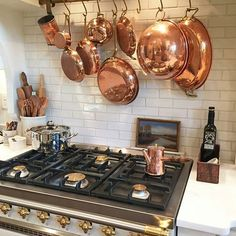 Love @faithmd's gorgeous kitchen and her collection of copper! She even has a few pieces from our shop... the big mixing bowl hanging above the stove and that darling little coffee pot We still have several pieces of vintage European copper available in the shop... just click the link in my bio and go to Vintage Copper to browse ♡