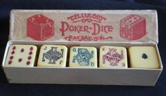 """Celluloid Poker Dice  Five 5/8"""" Celluloid Poker Dice in original box. Box is solid with no repairs. Reads: Celluloid Poker Dice PAT. July 19,81. (1881)"""