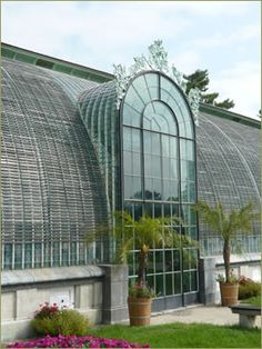Conservatory at Chateau Lednice (Liechtenstein Castle) in the southern area of Moravia in the Czech Republic. Old Window Greenhouse, Build A Greenhouse, What Is A Conservatory, Glass Conservatory, Green House Images, Lichtenstein Castle, Victorian Greenhouses, Cold Frame, Winter Garden