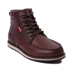 Shop for Mens Levis Dean Leather Boot, Dark Brown, at Journeys Shoes. As rugged as the land you walk, the Mens Dean Boot  from Levis can handle whatever your day throws at you. A casual boot with a comfortable feel, the Dean Boot features a leather upper, an oxford style vamp with a 6 lace up closure, and padded collar for added comfort. Available only at Journeys! Available for shipment in August; pre-order yours today!
