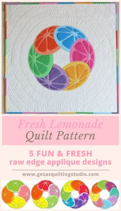 Fresh modern applique quilt pattern- 5 designs for easy applique quilts.