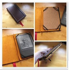 Kindle 3 cover made out of a thrift store blank journal (99 cents). Remove the pages, line it with felt, put in a cork pad to cushion it, and add elastic to hold the Kindle in place and hold the case closed. Quick and easy and it looks like a book !!  https://www.flickr.com/photos/litlnemo/6234073828/