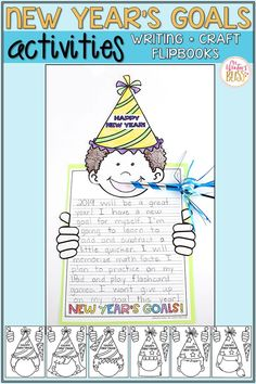 Activities for kids to share their New Year's goals and resolutions! These New Year's ideas are engaging and easy to prep to welcome students back to the classroom for the new year. There are many fun printable options available in … Continue reading → New Years Activities, First Grade Activities, Kindergarten Activities, Writing Activities, Classroom Activities, Classroom Ideas, Writing Centers, Kindergarten Reading, Family Activities