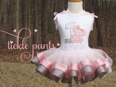 Elephant Birthday Collection- Includes top, tutu and hairbow-  Made in your colors or DIFFERENT ANIMALS- Great quality