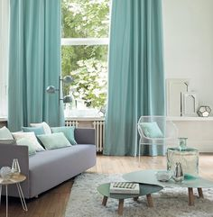 CASADECO CONNECT : Urban decor with a light vintage appeal. CONNECT is a collection of fabrics for curtains and upholstery. Mint Living Rooms, Living Room Green, Living Room Decor, Mint Green Decor, Green Curtains, Dining Room Inspiration, Interior Inspiration, Lounge Decor, Flooring Options