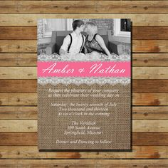 Burlap Wedding Invitation with your picture by SprinklesOfSugar, $15.00