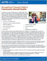 OT's Role in Community Mental Health