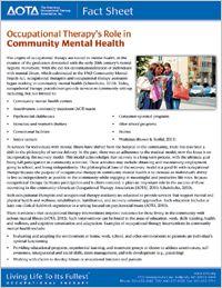 OT's Role in Community Mental Health