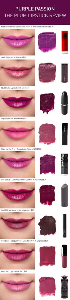Purple Passion: The Plum Lipstick Review  Love MAC Rebel, but wouldnt be able to pull it off. Also Bite Beauty Mulberry