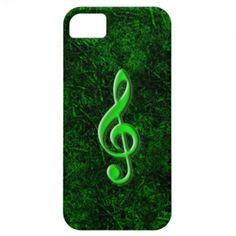 Caixa verde do iPhone 5 do símbolo da nota da músi Capas iPhone 5