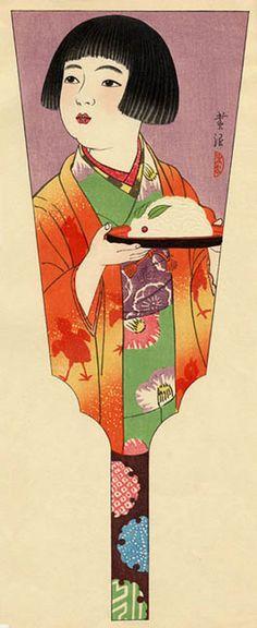 hanga gallery . . . torii gallery: Battledore Print: Girl Holding a Snow Rabbit by Shiro Kasamatsu