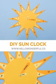 DIY Sun Clock. Teach your little ones how to tell time with this cute DIY sun clock craft and learning tool! #learningcraft #diyclock #kidscraft #kidsart #preschoollife #preschoolcraft #preschoollearning #montessori