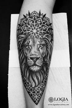 The spirituality of mandala tattoos - Lion mandala tattoo on the arm. Mandala tattoo done by tattoo artist Beve at the Logia Tattoo Barce - Tattoo Dotwork, Forarm Tattoos, Bike Tattoos, 1 Tattoo, Tiger Tattoo, Tattoo Drawings, Tattoo Sketches, Tatoos, Hai Tattoos