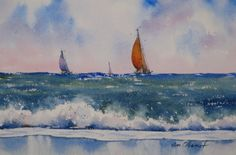 landscape, seascape, sailboat, ocean, waves, surf, original watercolor painting, oberst