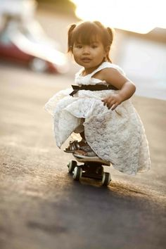 real girls skateboard - at any age Heck yea!!!   In Princess shoes even!