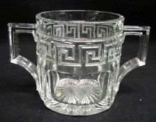 Vintage Heisey Greek Key Glass 2-Handled Sugar Bowl