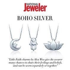 Thanks #NationalJeweler for the boho-chic feature of our Little Faith Crescent Moon, Hamsa Hand, and Lotus Blossom! #alexwoo #littleicons #hamsa #lotus #crescentmoon #boho #savorsilver